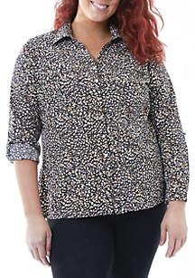 Plus Size Roll-Tab Utility Shirt