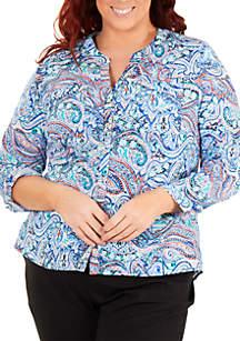 Kim Rogers® Plus Size Mandarin Collar Utility Top