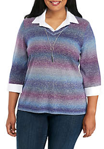 Plus Size Three-Quarter Sleeve V-Neck 2Fer Pullover With Necklace