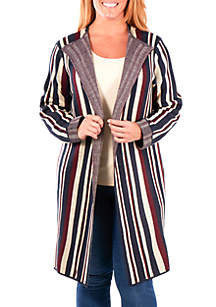 Plus Size Stripe Duster Cardigan
