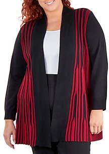 Plus Size Mixed Print Shawl Collar Cardigan