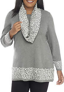 Plus Size 2-Piece Cheetah Scarf and Sweater Set