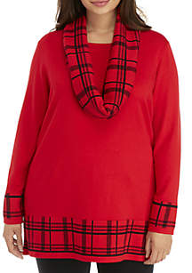 Plus Size Plaid Hem and Scarf Tunic