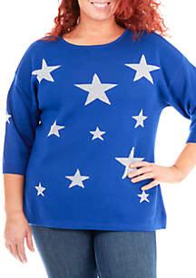 Plus Size Metallic Star Sweater
