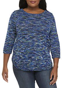 Plus Size Rounded Hem Sweater