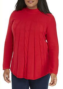 Plus Size Multi Cable Mock Neck Sweater
