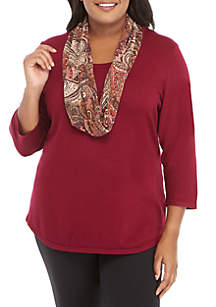 Plus Size Sweater with Hacci Scarf