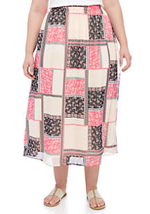 Plus Size Chiffon Maxi Skirt With Slit