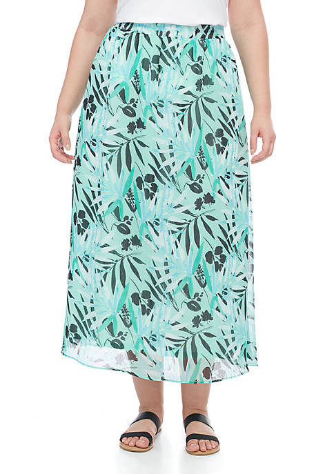 Kim Rogers® Plus Size Chiffon Maxi Skirt With