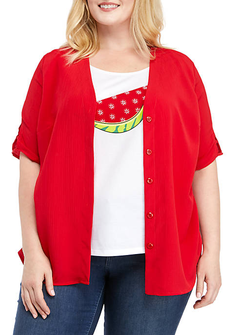 Kim Rogers® Plus Size Lattice Watermelon 2Fer Top