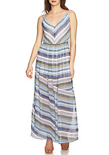 Sleeveless Stripe Maxi Dress