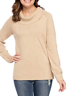 Perfect Cowl Neck Raglan Sleeve Solid Sweater
