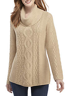 Cowl Neck Fisherman Cable Sweater