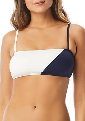 Color Block Square Neck Bikini Swim Top