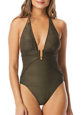 Plunging Texture One Piece Swimsuit