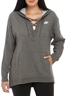 Plus Size Women's Lace-Up Hoodie