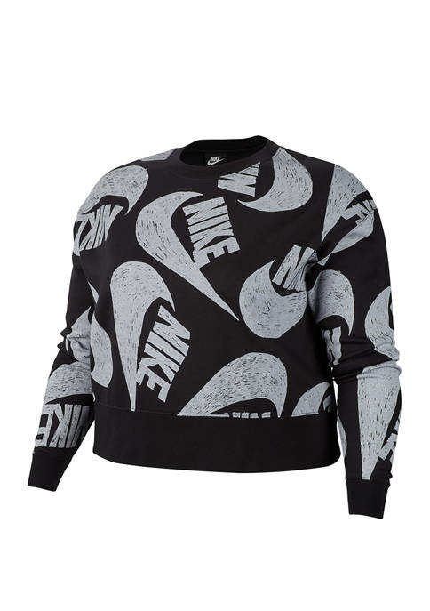 Plus Size Sportswear Icon Clash Crew Pullover