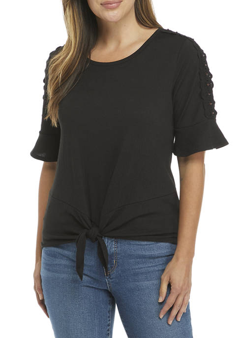 AGB Womens Tie Front Ruffle Sleeve Knit Top