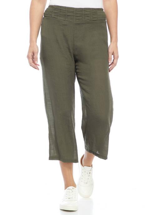 Juniors Pull On Smocked Waist Pants