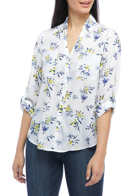 A. Byer Juniors Roll Tab Floral Collared Button
