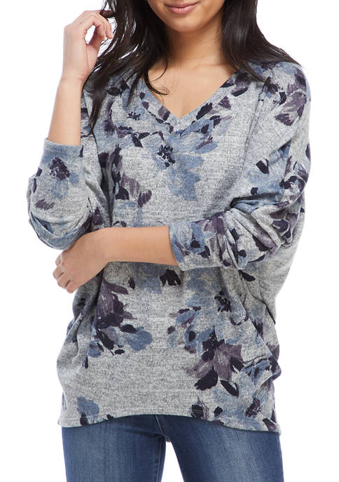 A. Byer Juniors V-Neck Marled Floral Tunic