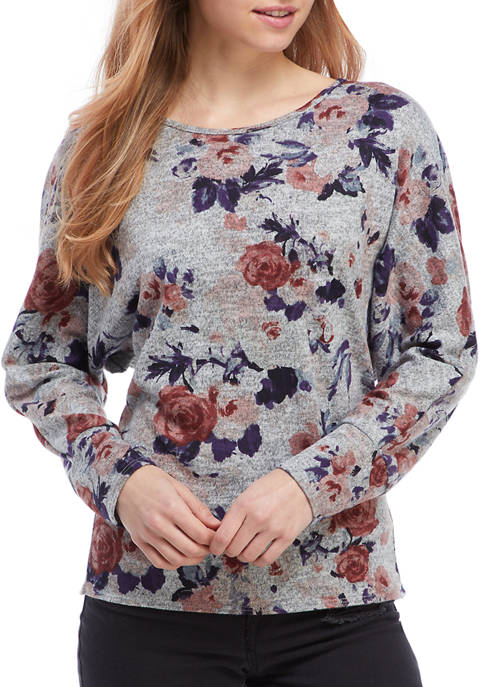 Juniors Floral Hacci Knit Reversible Twist Top