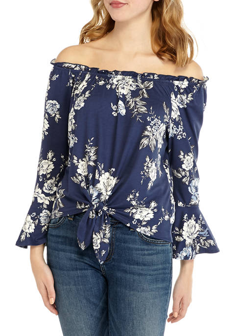A. Byer Juniors Floral Off the Shoulder Knit
