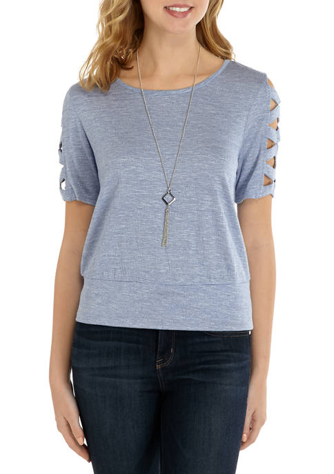 Juniors Solid Ladder Elbow Sleeve Knit Top