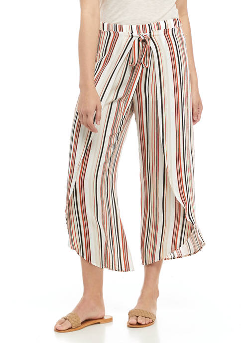 Juniors Striped Cropped Pants