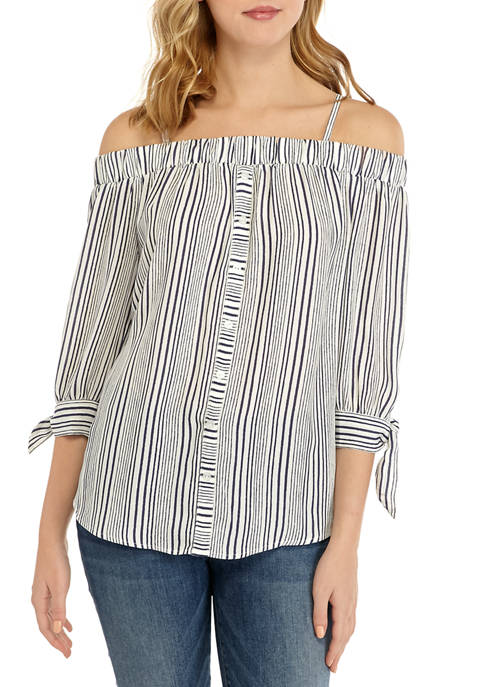 A. Byer Juniors Printed Button Off the Shoulder
