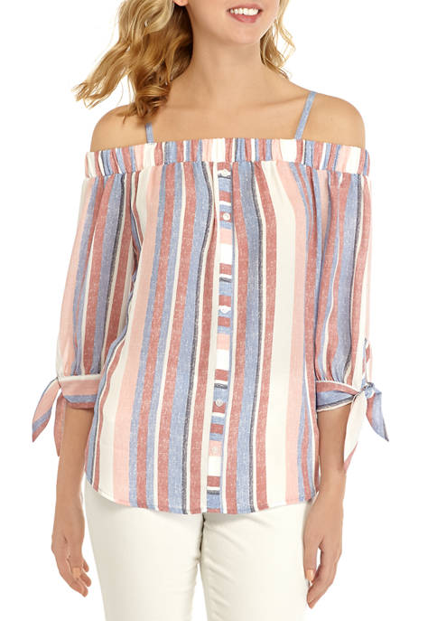 Juniors Printed Button Off the Shoulder Top