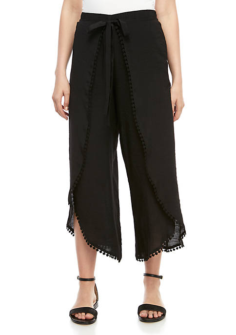 A. Byer Tie Front Pants with Crochet Details