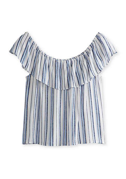 A. Byer Juniors Blue Stripe Popover Woven Top