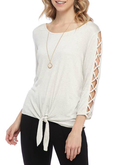 Juniors 3/4 Lattice Sleeve Tie Front Necklace Top