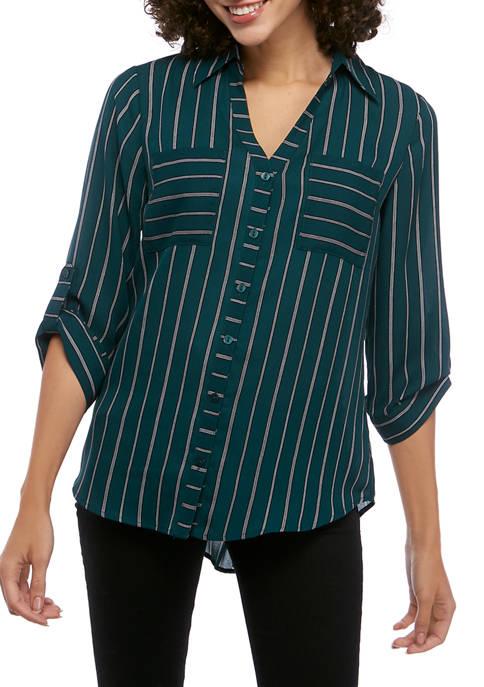 A. Byer Juniors Button Down Pin Stripe Shirt