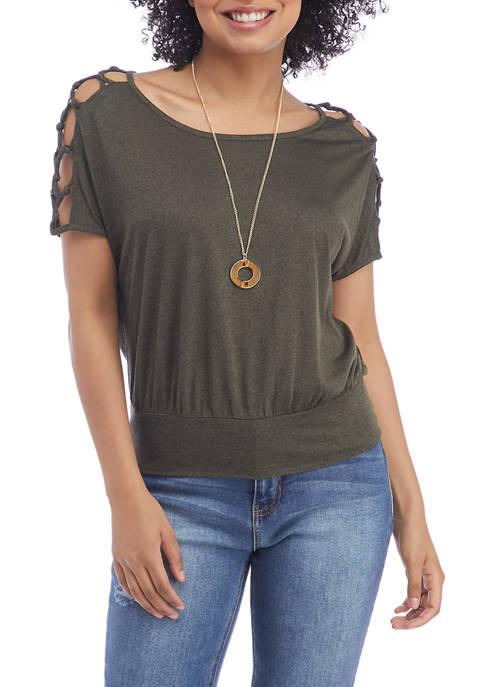 Juniors Short Lattice Sleeve Top with Necklace