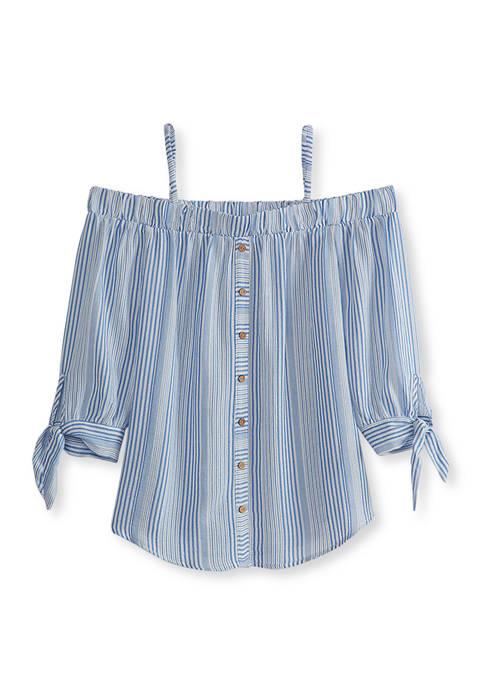 Juniors Off-the-Shoulder Button Woven Top