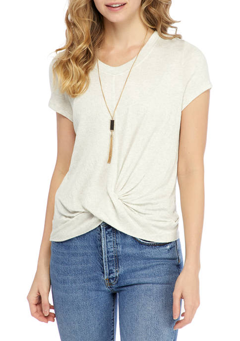 Juniors Short Sleeve Twist Hem Knit Top with Necklace