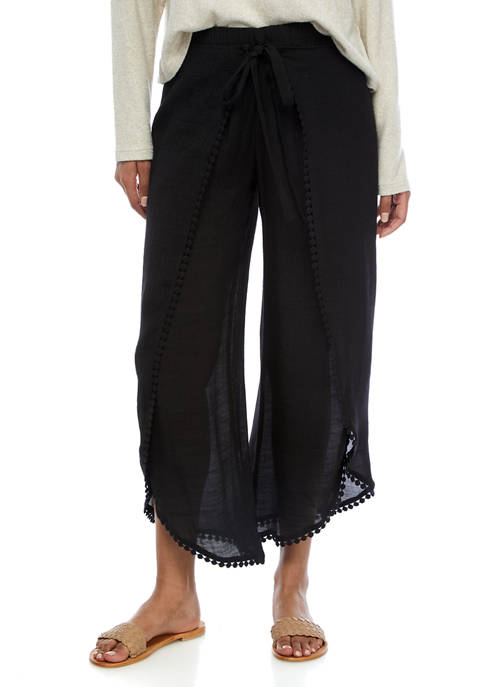 Juniors Crochet Trim Cropped Pants
