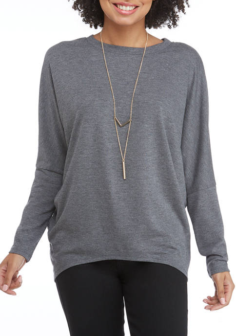Juniors Hacci Dolman Sleeve Top with Necklace