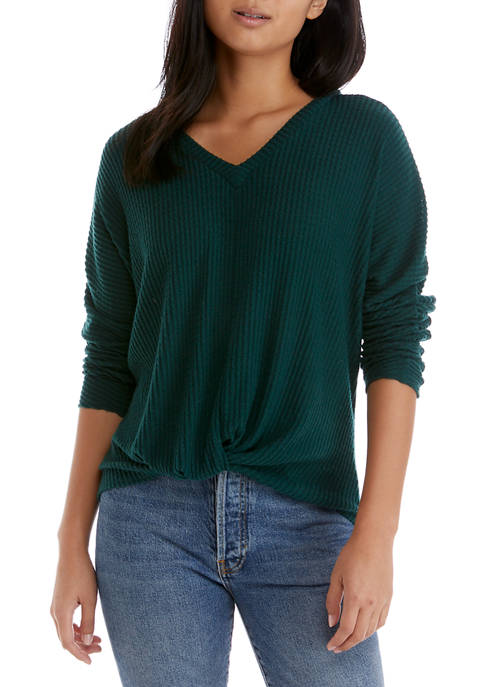 A. Byer Juniors Twist Long Sleeve Waffle Knit