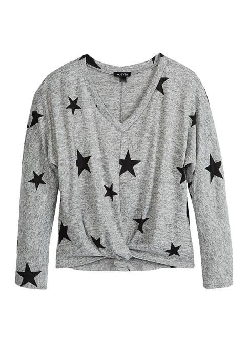 Juniors Long Sleeve Twist Front T-Shirt