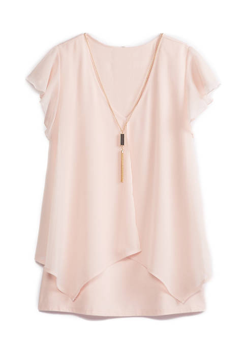 Juniors Flutter Sleeve Blouse with Necklace