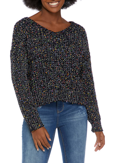 A. Byer Juniors Lace Up Back Confetti Sweater