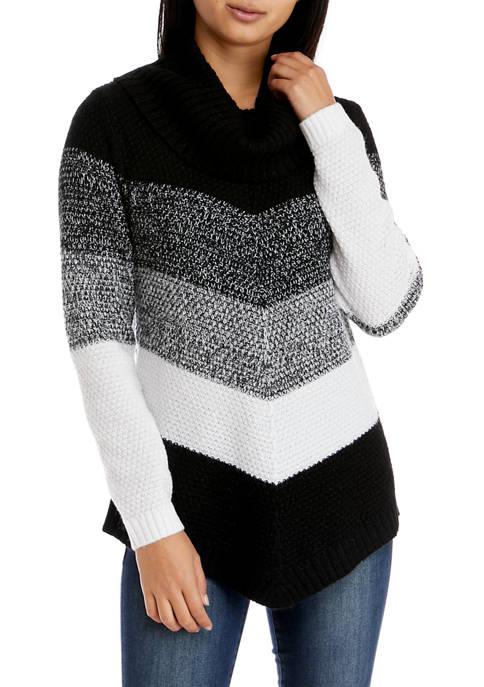 Juniors Cowl Neck Chevron Sweater