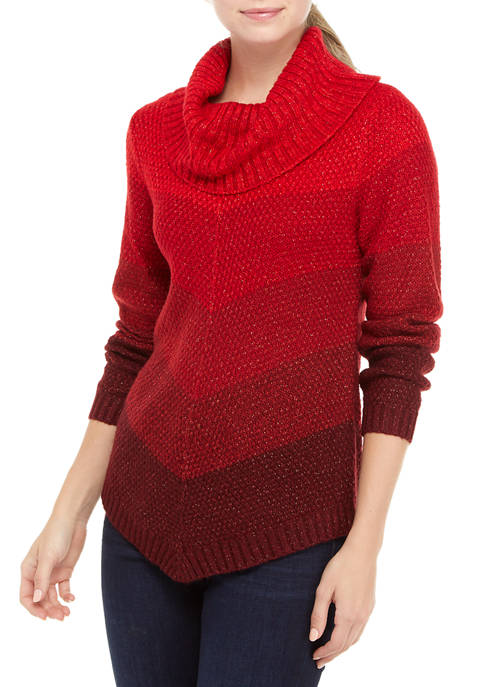 A. Byer Juniors Cowl Neck Chevron Sweater