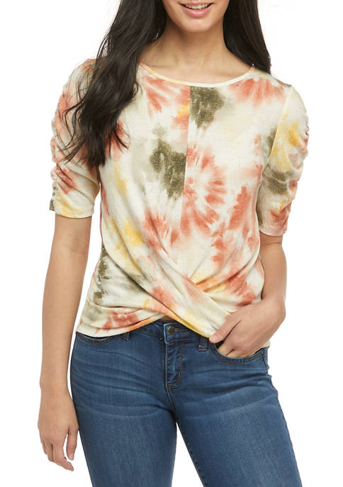Juniors Elbow Ruched Sleeve  Shirt
