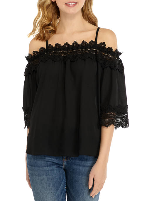 Juniors Solid Lace Off the Shoulder Top