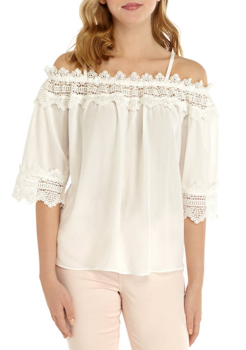 A. Byer Juniors Solid Lace Off the Shoulder
