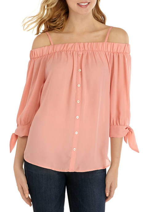 A. Byer Juniors Solid Button Off the Shoulder